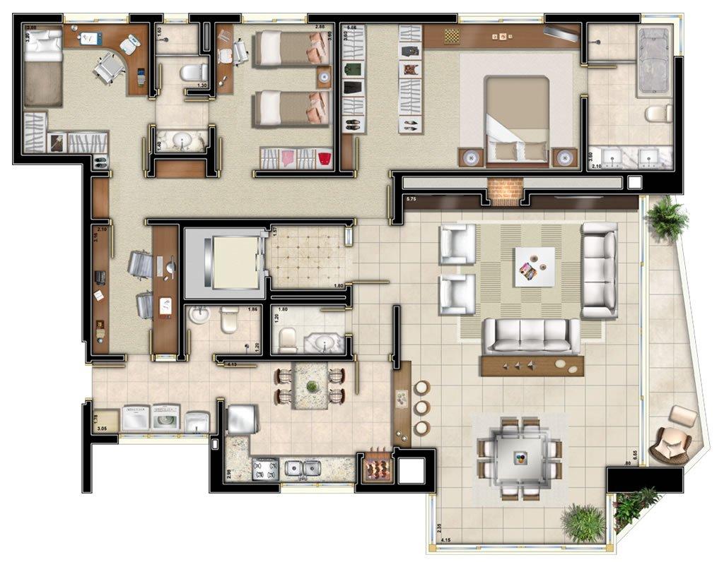 Imperium planta: Apartamentos de 170 m²