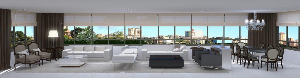 Interior do apartamento de 184m² do empreendimento Palazzo
