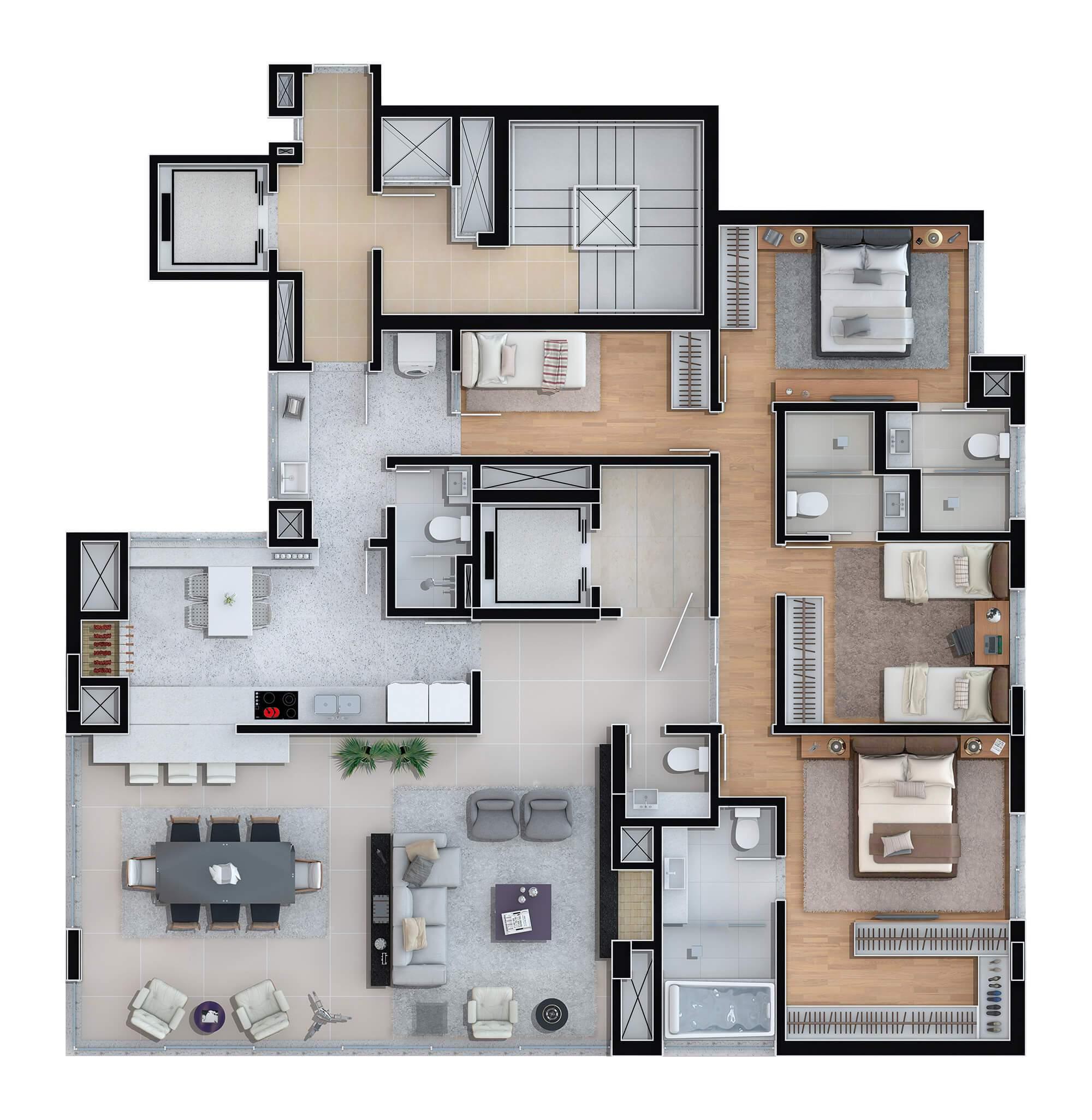 Olimpo planta: Apartamentos  170,50 m², 2 por andar