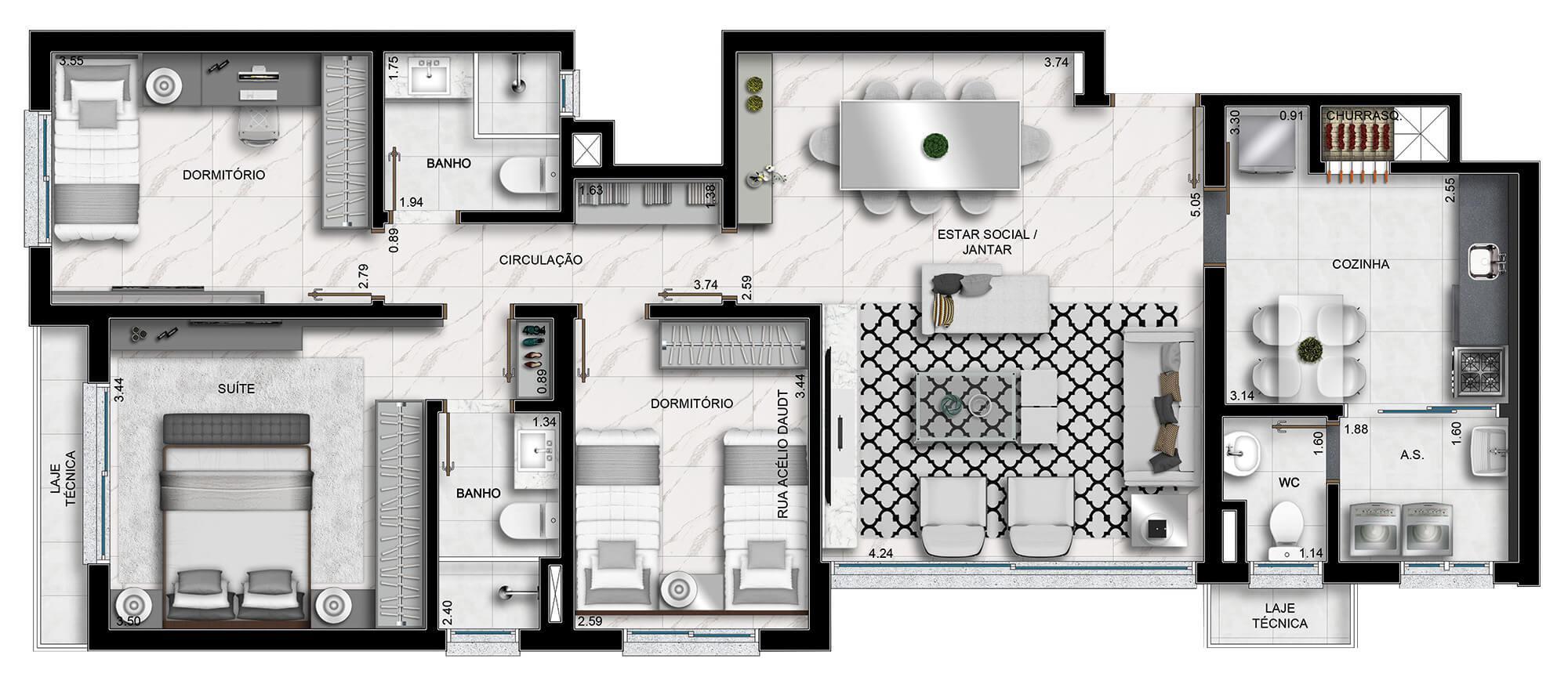 Leeds planta: Apartamentos de  101,52 m²