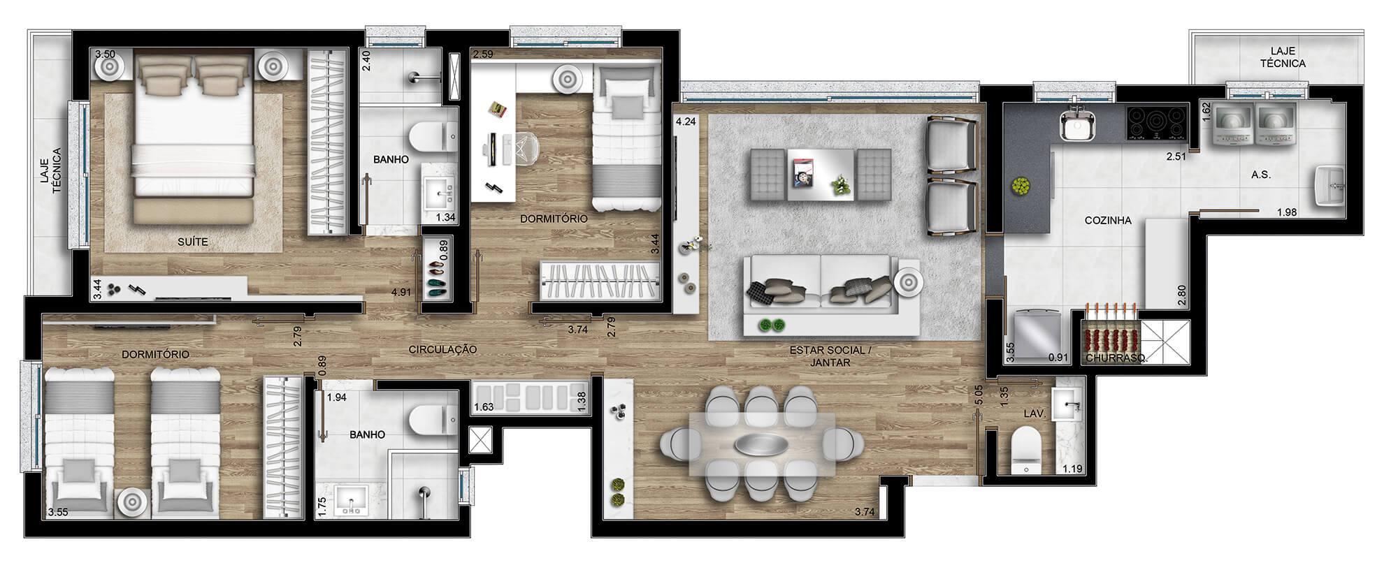 Leeds planta: Apartamentos de 102,46 m²