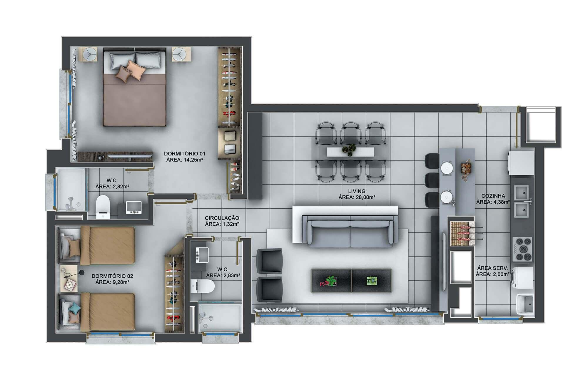 Garden Tower planta: Apartamentos 85 m²