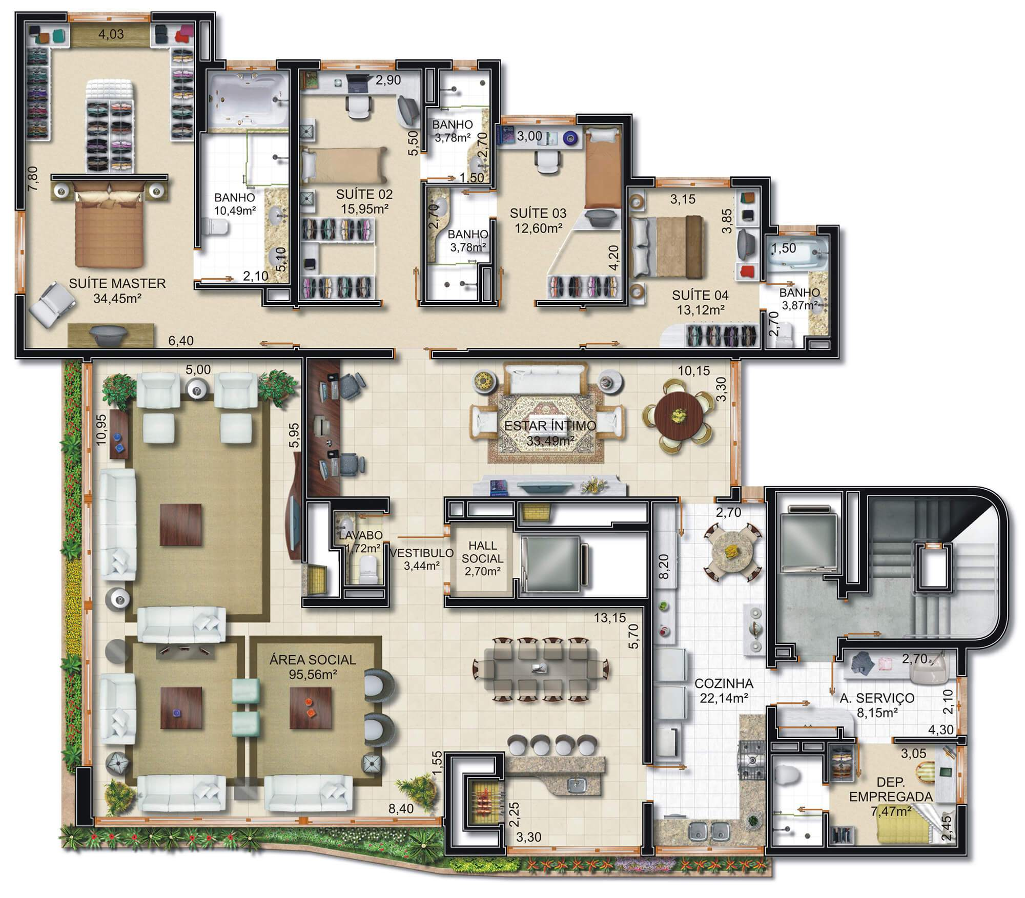 Cadoro planta: Planta Tipo - Apartamentos 640  m²