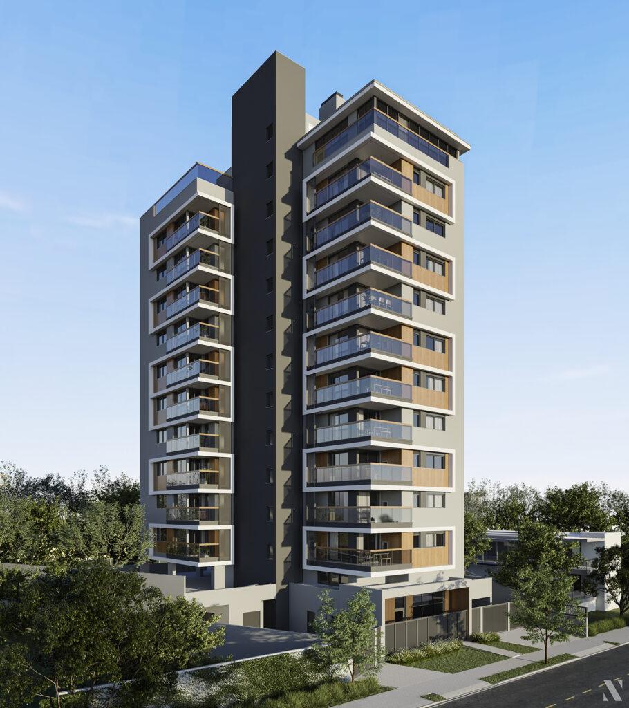 Fachada apartamento em Porto Alegre com 2 suítes e sacada
