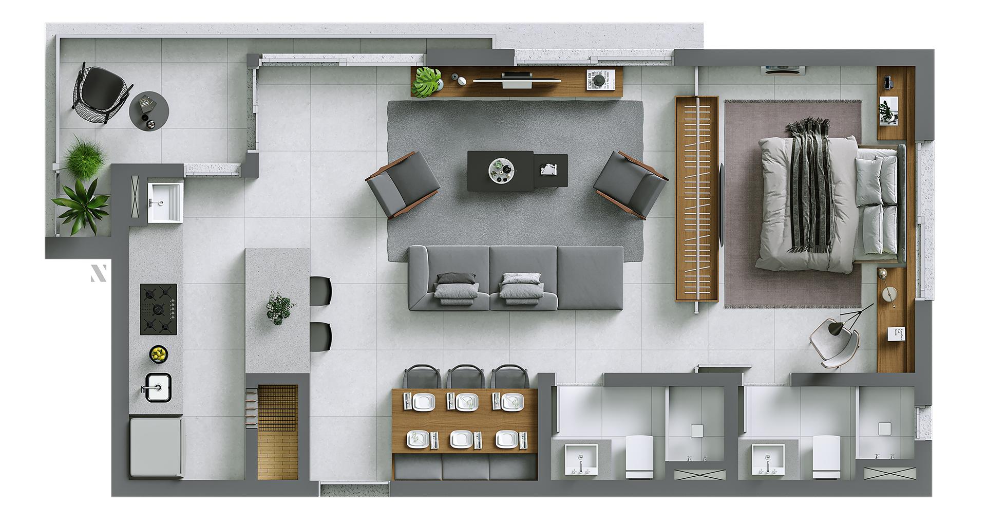 Vida planta: Apartamento 04 - living estendido - 72,50 m²
