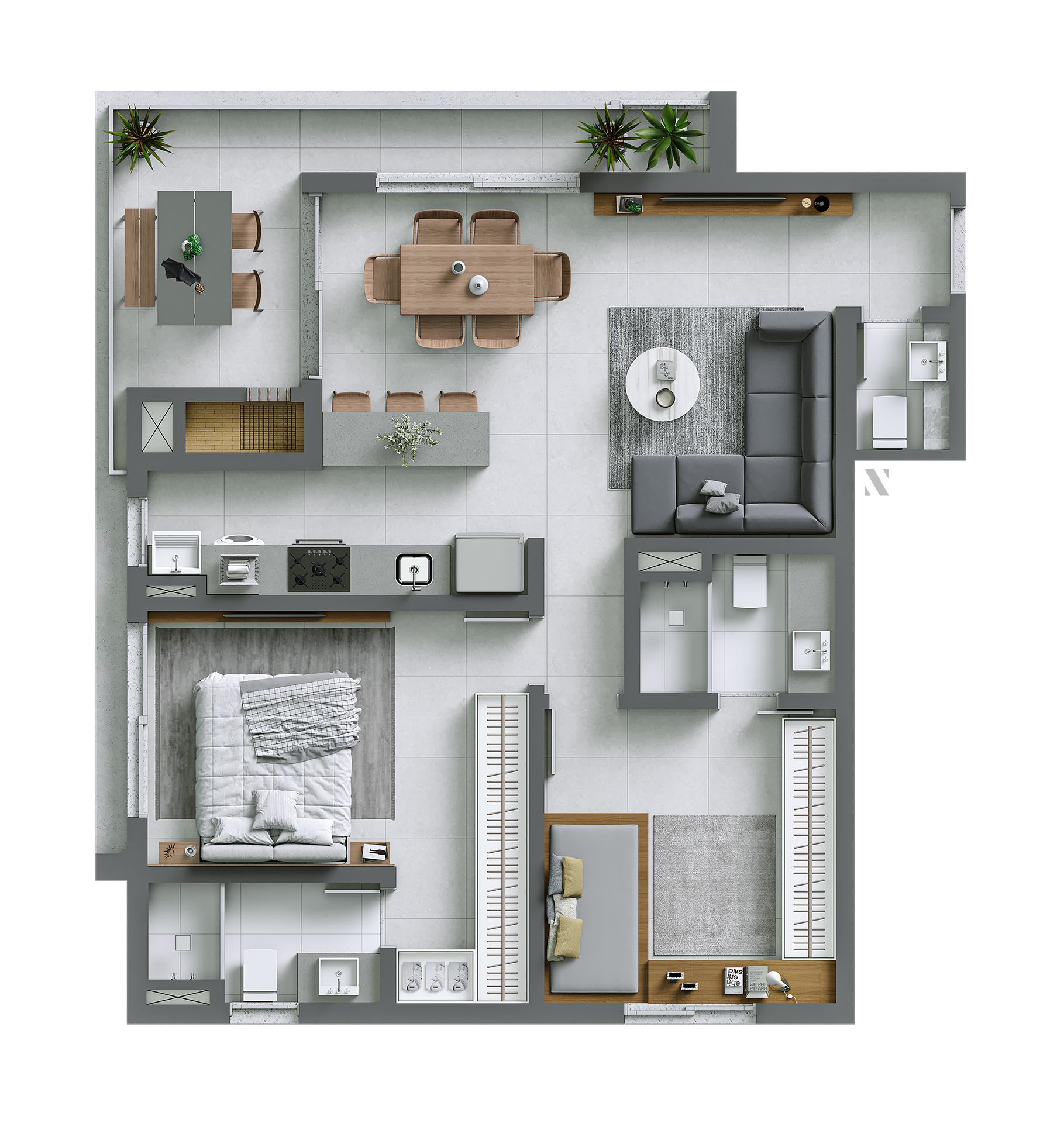 Vida planta: Apartamento 01 - 87,65 m²