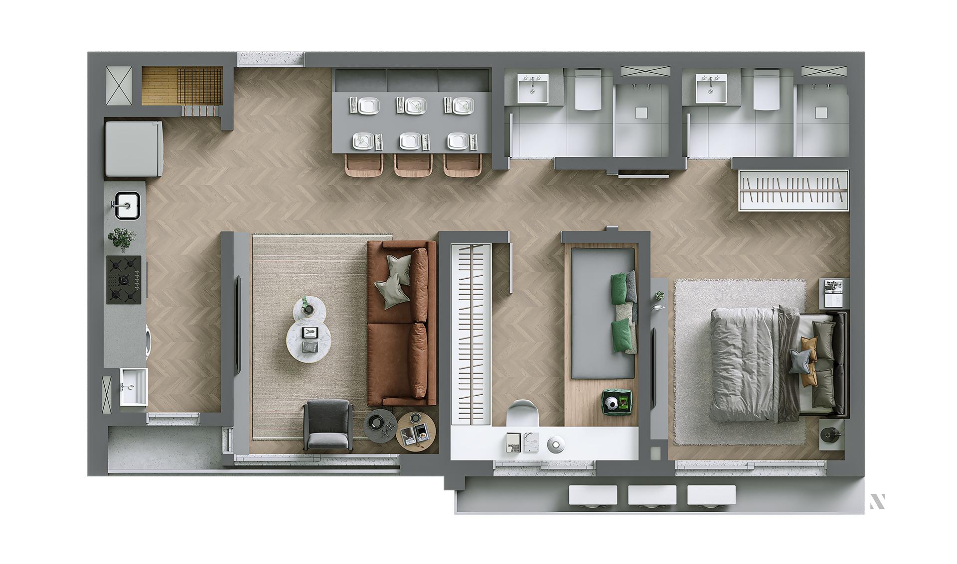 Vida planta: Apartamento 02 - 70,44 m²