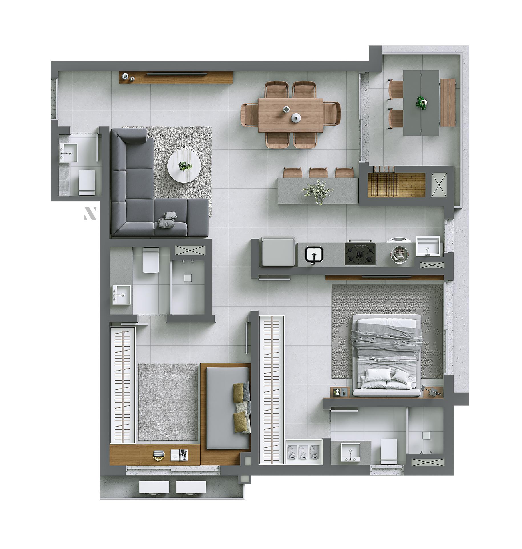 Vida planta: Apartamento 03 - 80,37 m²