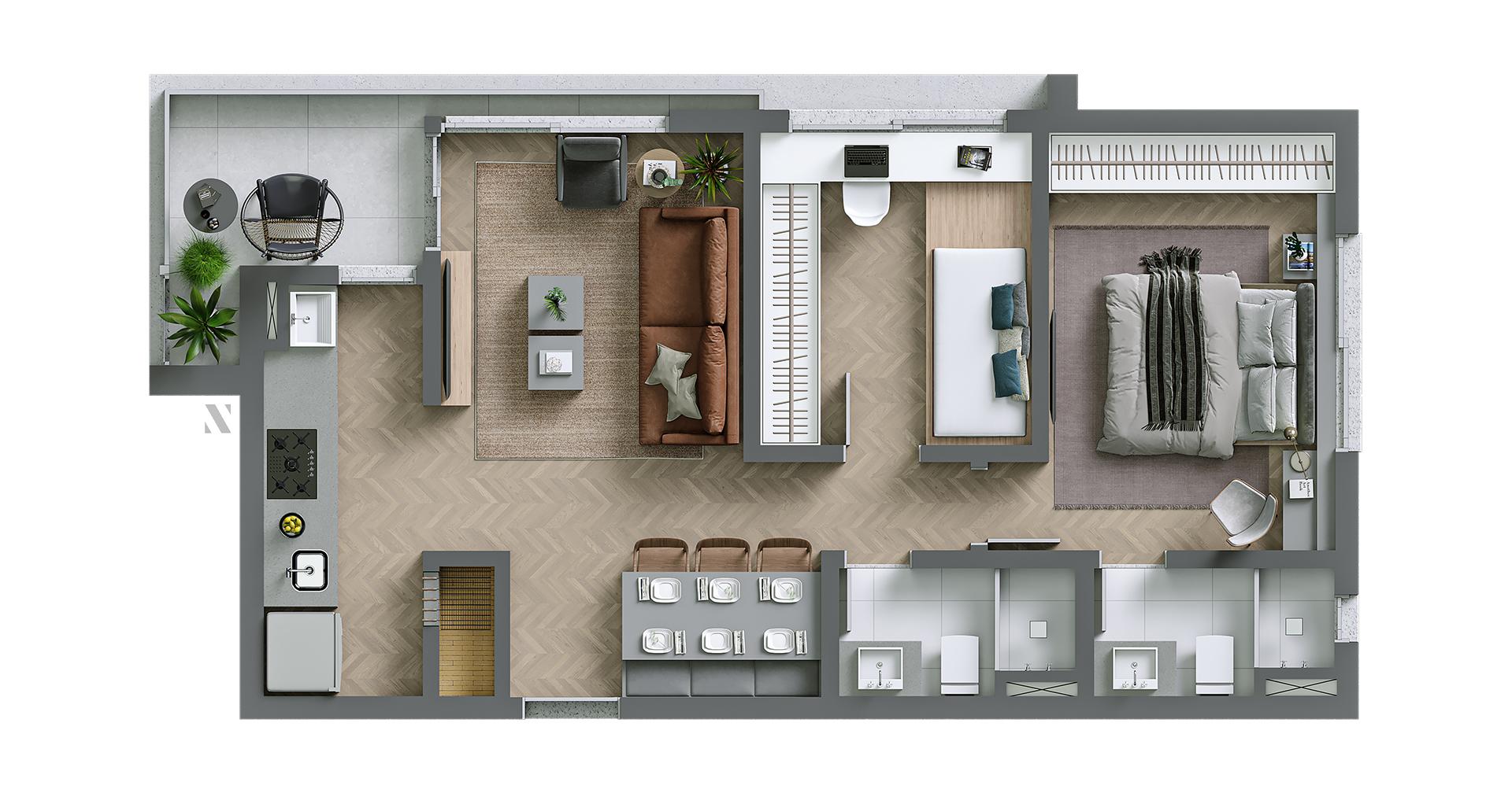 Vida planta: Apartamento 04 - 72,50 m²