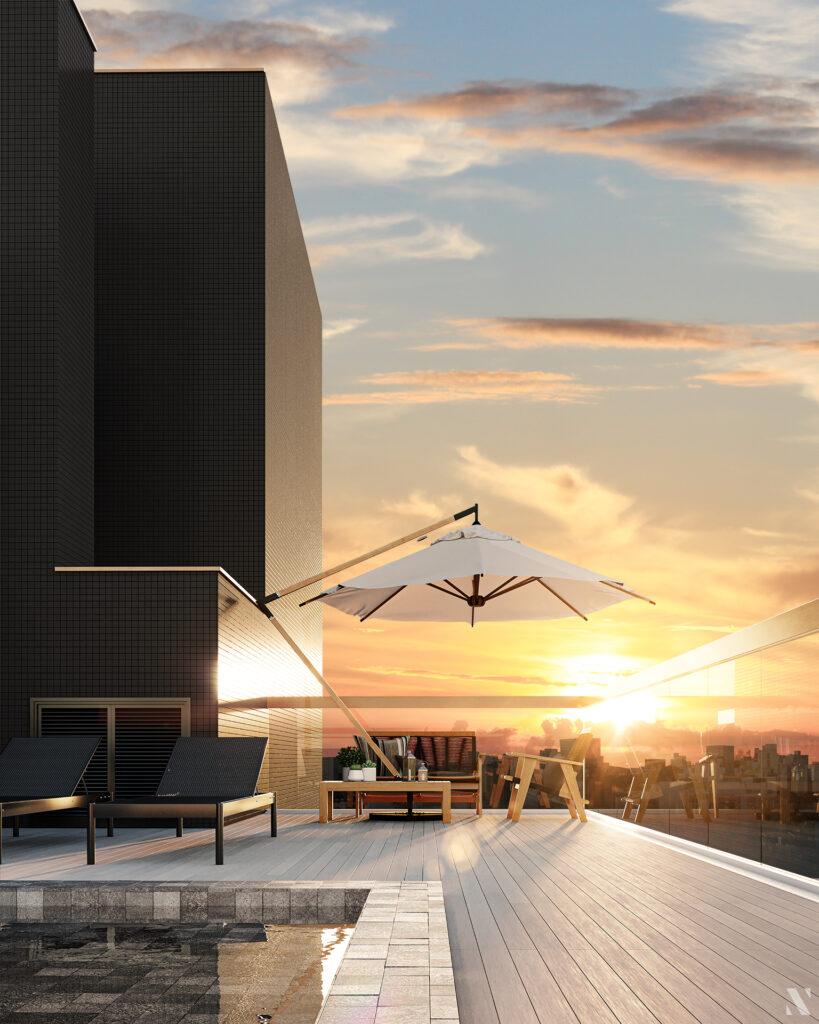 Vista rooftop empreendimento Vida - Você em equilíbrio