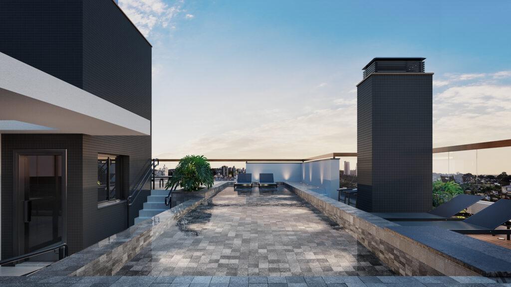 Piscina com borda infinita no rooftop empreendimento Vida - Você em equilíbrio