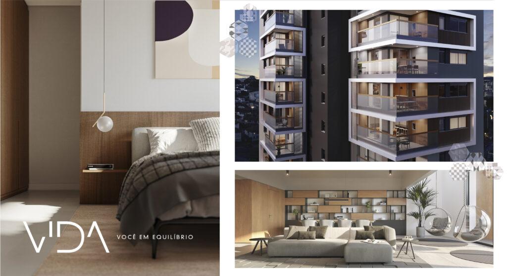 Empreendimento Vida da Colla Construções, imagem quarto, fachada e living, lançamento luxo