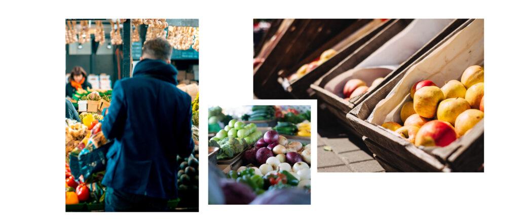 Feira com frutas, verduras e legumes.