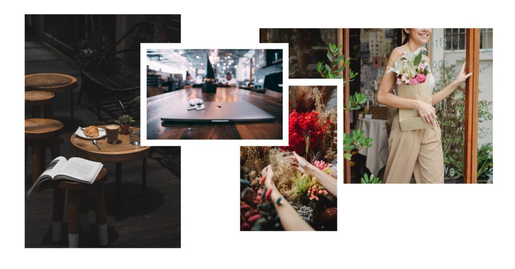 Mesas e flores.